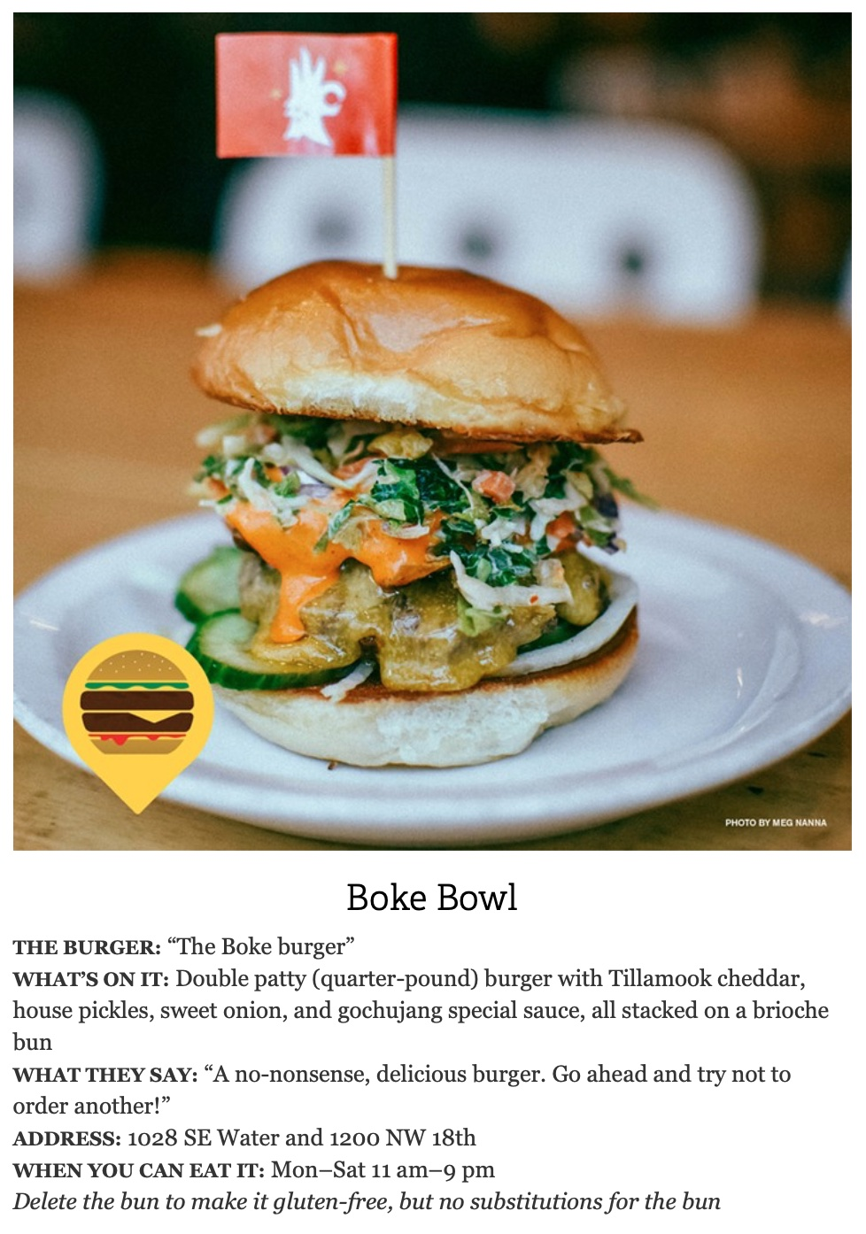 Ad copy for Boke Bowl's Portland Burger Week hamburger.