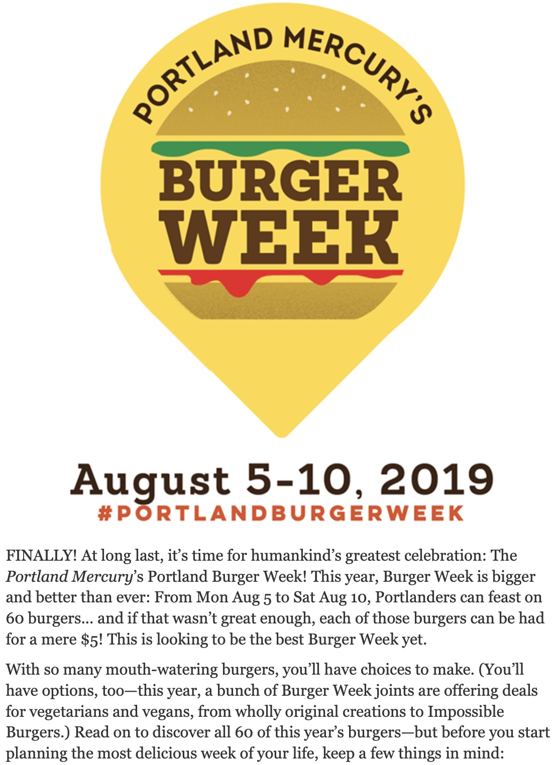 Introductory copy for Portland Burger Week.