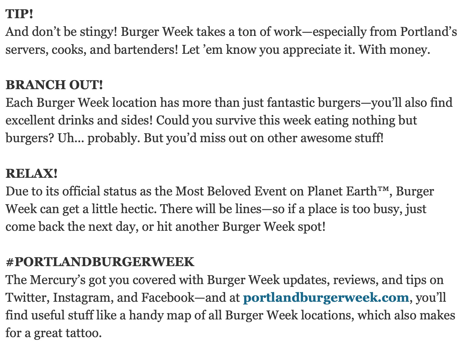 Upbeat ad copy for Portland Burger Week.