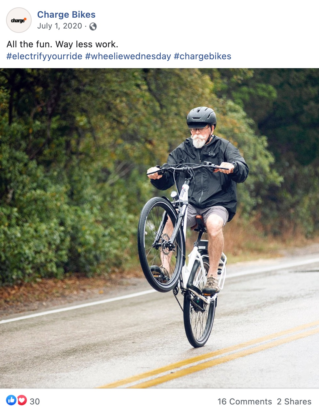 A social media post showing an old dude popping a wheelie.