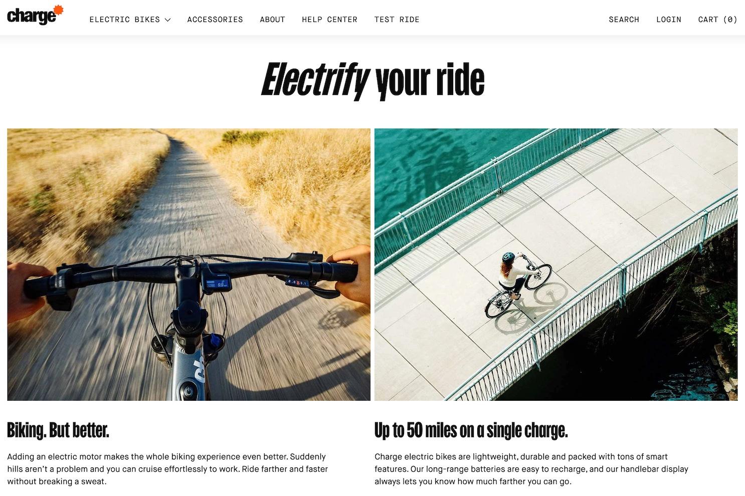 """Electrify your ride"" headline copy."