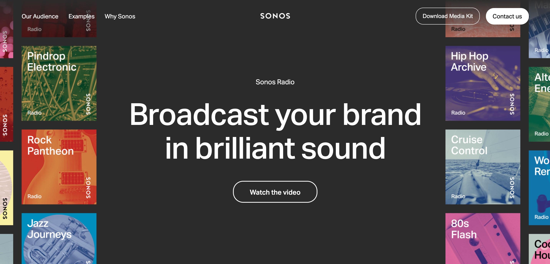 """Broadcast your brand in brilliant sound"" headline copy."
