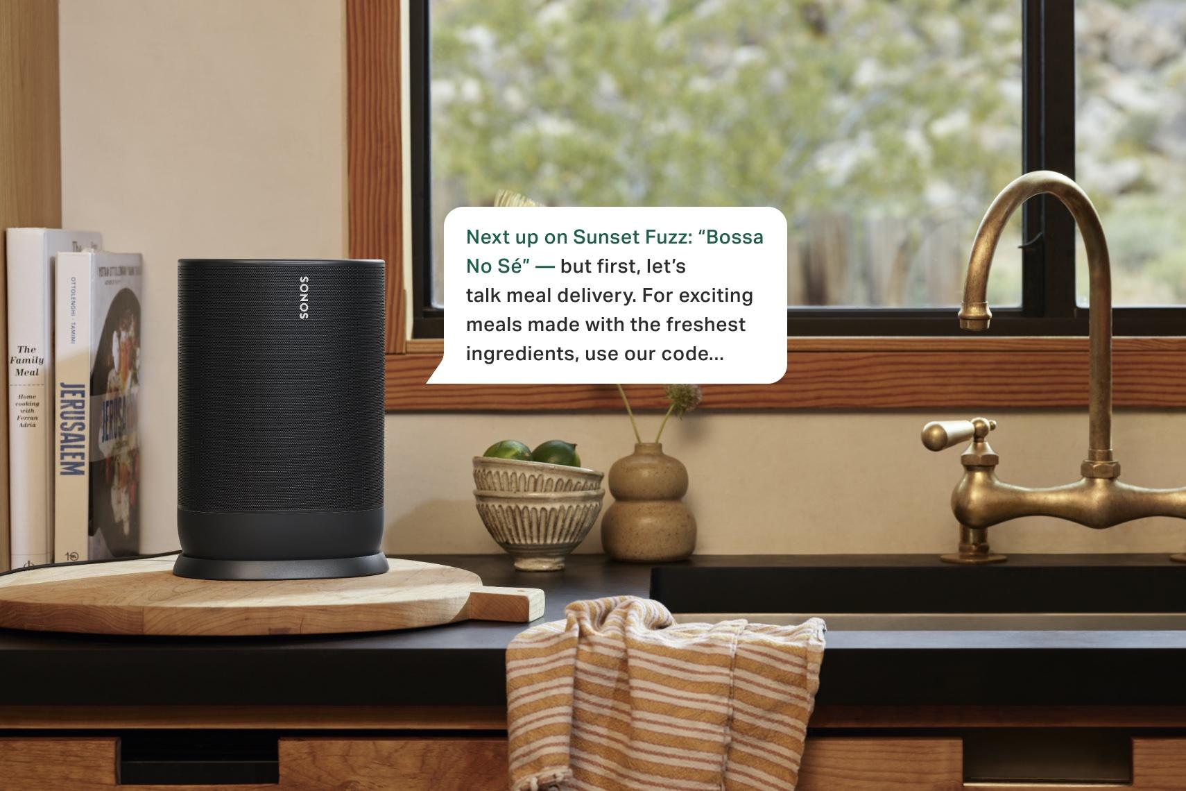 A Sonos smart speaker announcing a message.