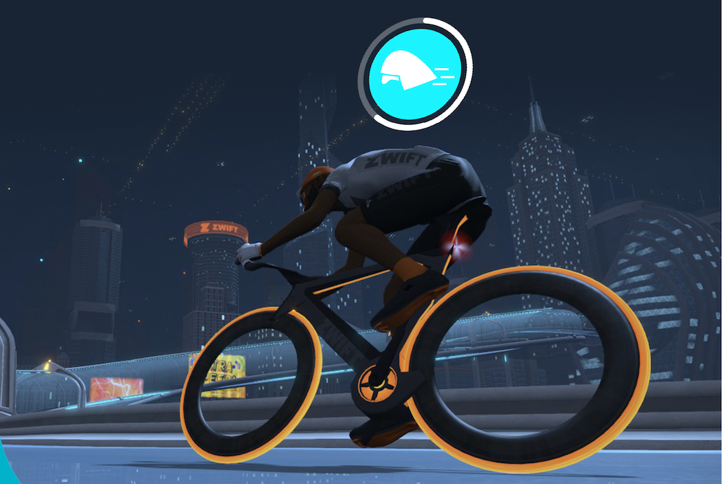 A man in a virtual bicycle race.